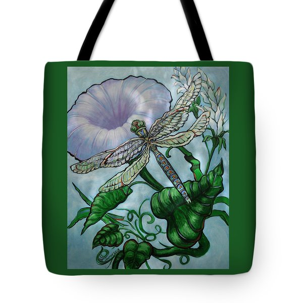 Tote Bag featuring the painting Dragonfly In Sun by Jeanette Jarmon