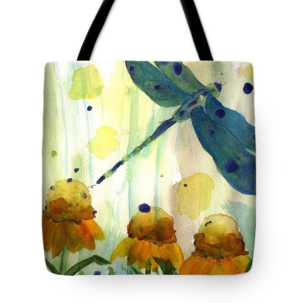 Dragonfly In The Wildflowers Tote Bag by Dawn Derman