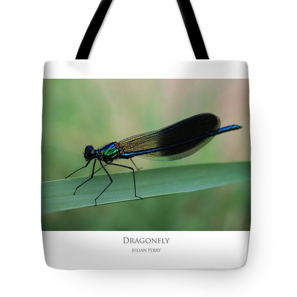 Tote Bag featuring the digital art Dragonfly by Julian Perry