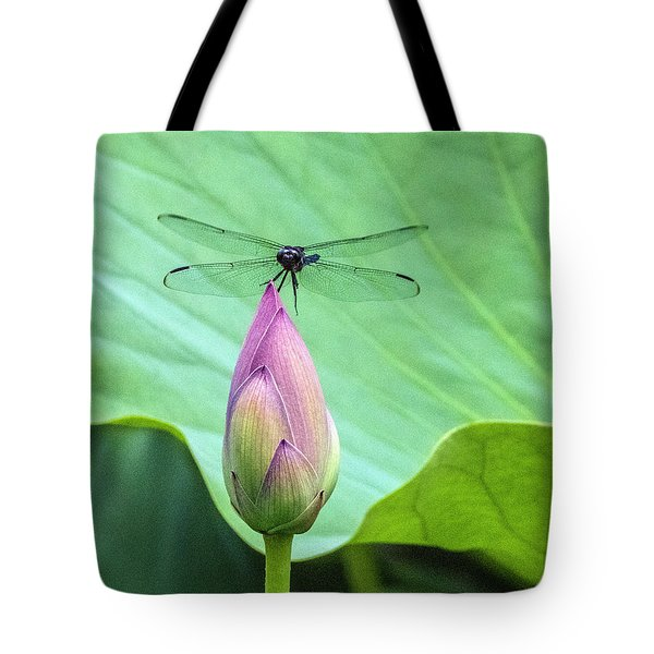 Dragonfly Landing On Lotus Tote Bag