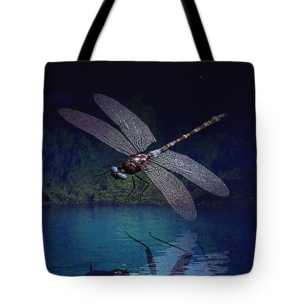 Dragonfly Night Reflections Tote Bag