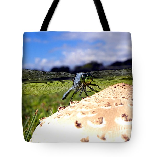 Dragonfly On A Mushroom Tote Bag by Chris Mercer
