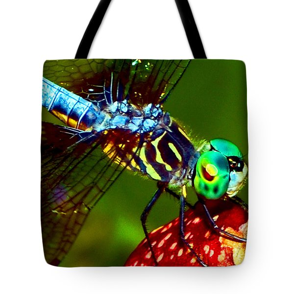 Tote Bag featuring the photograph Dragonfly On A Pitcher Plant 007 by George Bostian