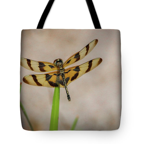 Tote Bag featuring the photograph Dragonfly On Grass by Tom Claud