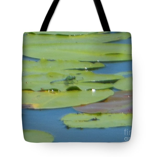 Dragonfly On Lily Pad Tote Bag