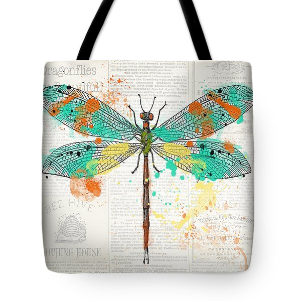 Dragonfly On Newsprint-jp3451 Tote Bag