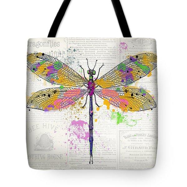 Dragonfly On Newsprint-jp3454 Tote Bag