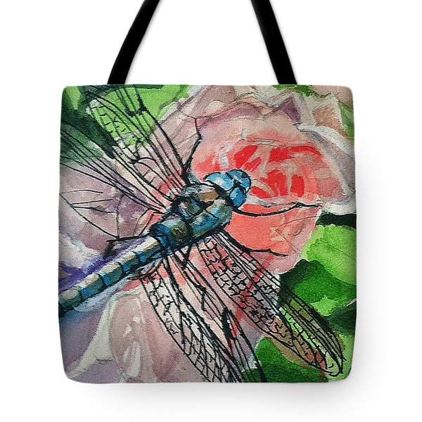 Dragonfly On Rose Tote Bag