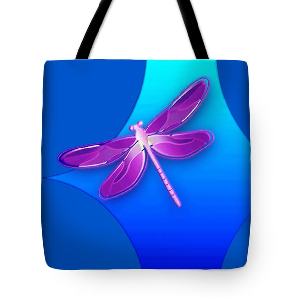 Dragonfly Pink On Blue Tote Bag