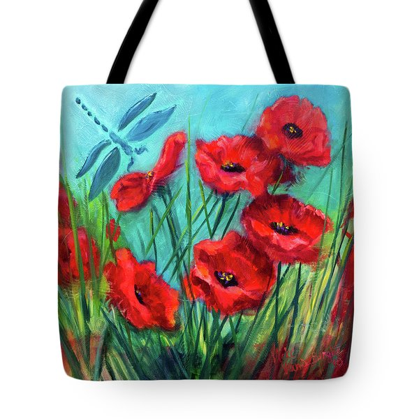 Dragonfly Poppies Tote Bag