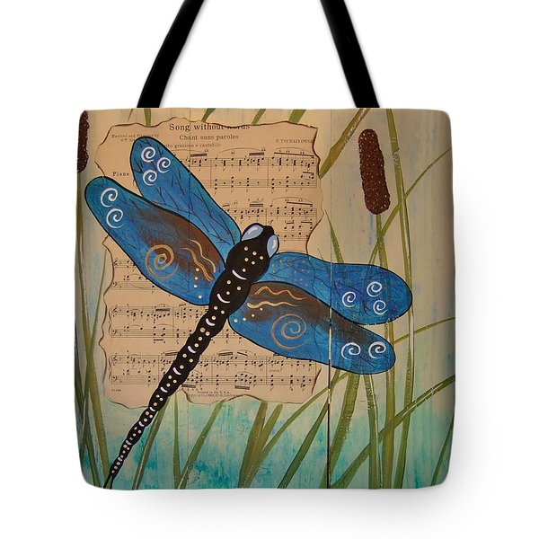 Dragonfly Song Tote Bag by Cindy Micklos