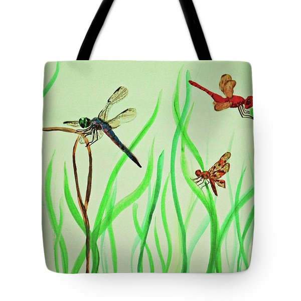 Tote Bag featuring the painting Dragonfly Trio by Terri Mills