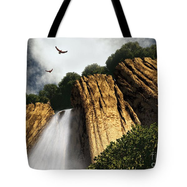 Tote Bag featuring the digital art Dragons Den Canyon by Richard Rizzo