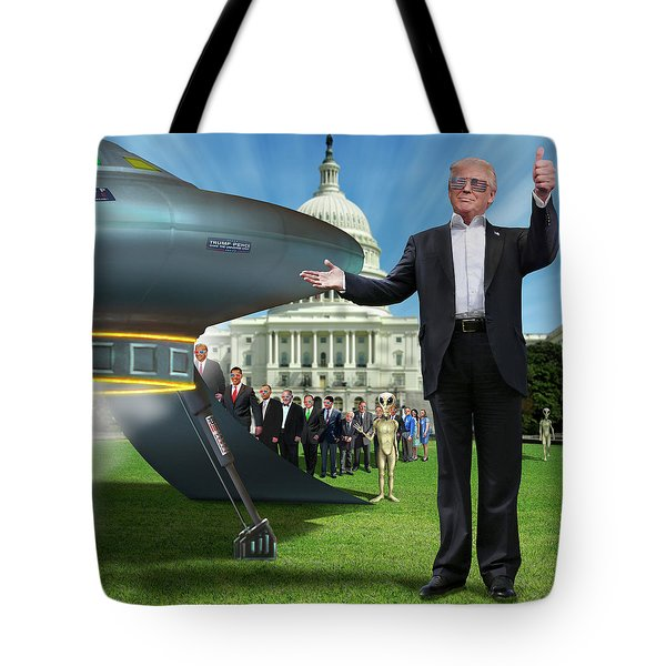 Tote Bag featuring the digital art Draining The Swamp With Help From Above by Mike McGlothlen