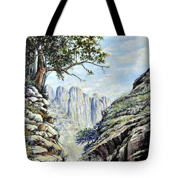 Tote Bag featuring the painting Drakensberg by Heidi Kriel