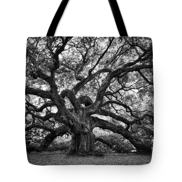 Dramatic Angel Oak In Black And White Tote Bag