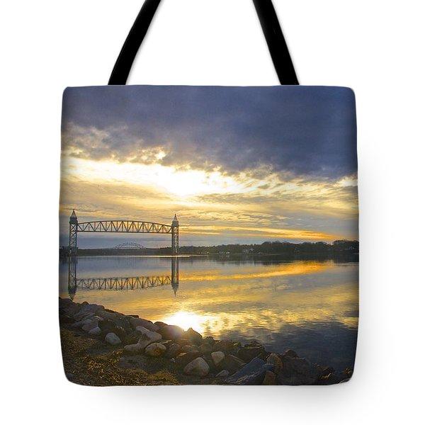 Dramatic Cape Cod Canal Sunrise Tote Bag