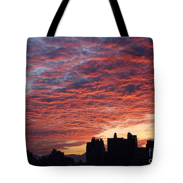Tote Bag featuring the photograph Dramatic City Sunrise by Yali Shi
