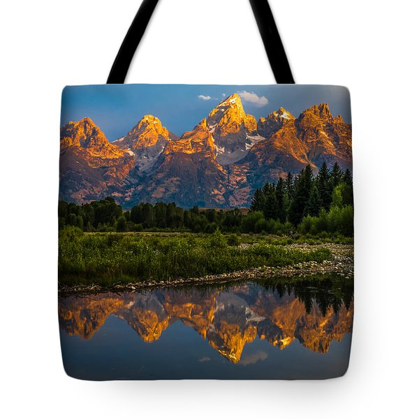 Tote Bag featuring the photograph Dramatic Grand Teton Sunrise by Serge Skiba