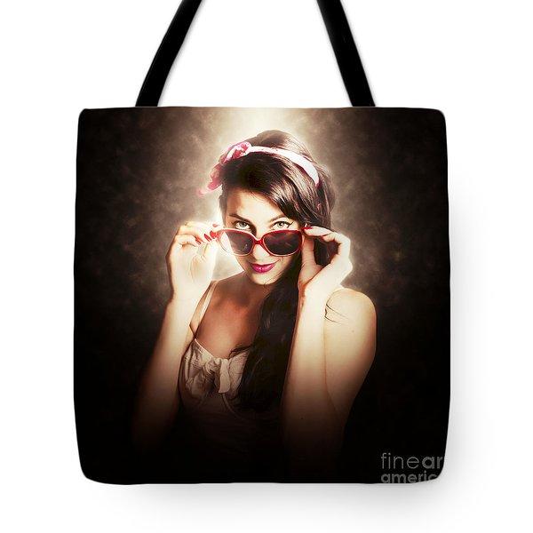 Dramatic Pin Up Fashion Photograph Tote Bag