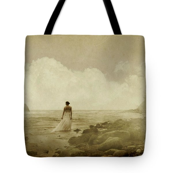 Dramatic Seascape And Woman Tote Bag