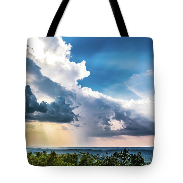 Tote Bag featuring the photograph Dramatic Sunrays Over The Valley by Shelby Young