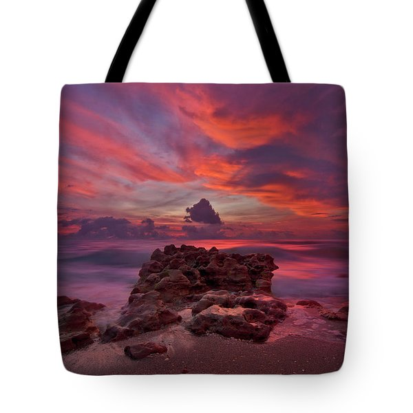 Dramatic Sunrise Over Coral Cove Beach In Jupiter Florida Tote Bag by Justin Kelefas