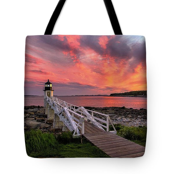 Dramatic Sunset At Marshall Point Lighthouse Tote Bag