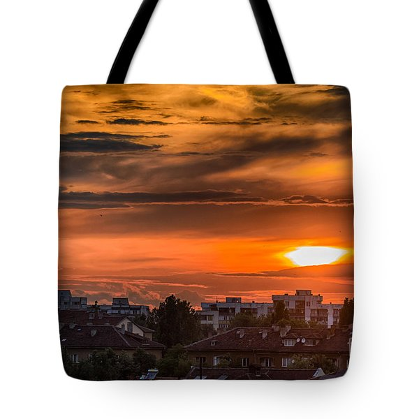 Dramatic Sunset Over Sofia Tote Bag