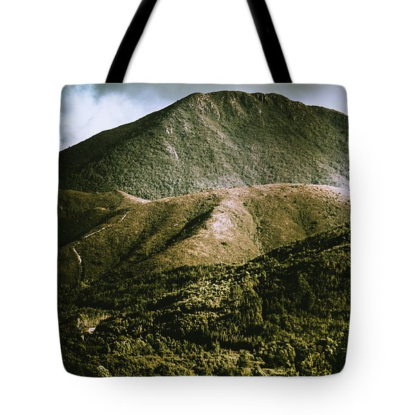 Dramatic View On Mount Zeehan Against Stormy Cloud Tote Bag