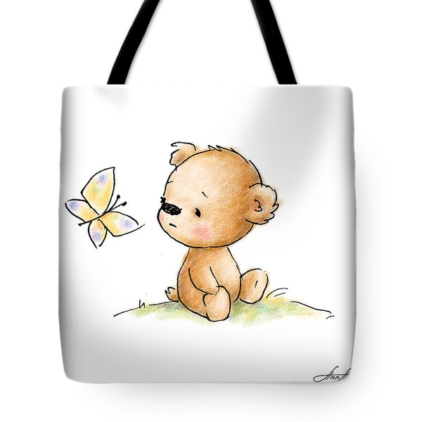 Drawing Of Cute Teddy Bear With Butterfly Tote Bag