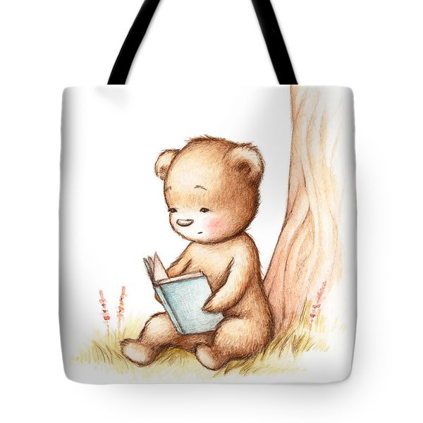 Drawing Of Teddy Bear Reading A Book Under Tree Tote Bag
