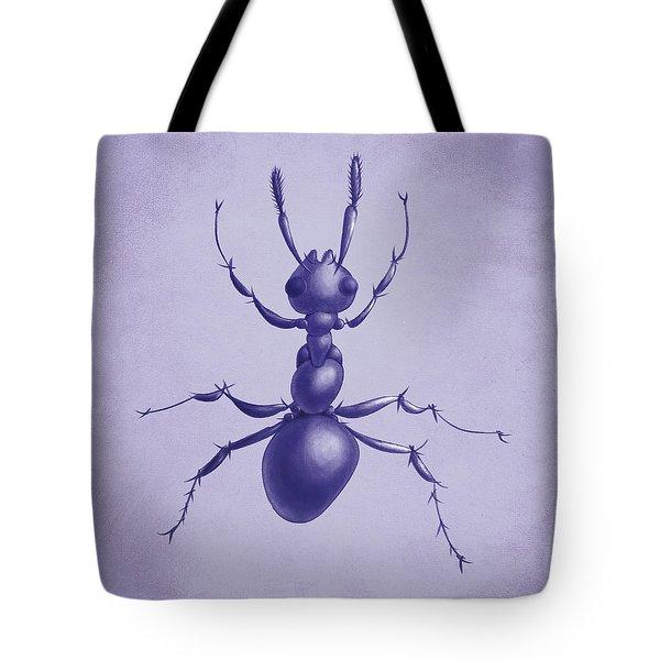 Drawn Purple Ant Tote Bag by Boriana Giormova