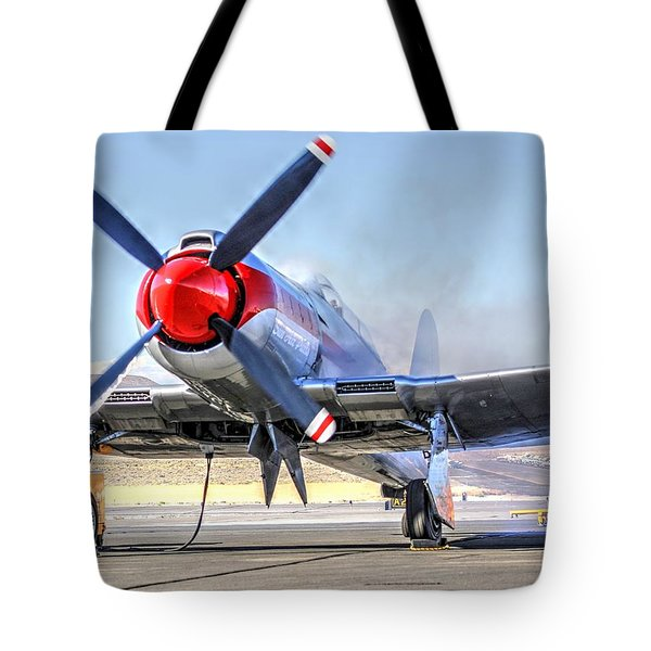 Tote Bag featuring the photograph Dreadnaught Engine Start Sunday Gold Unlimited Reno Air Races by John King