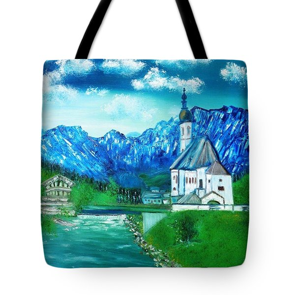Tote Bag featuring the painting Dream A Little Dream Of Bavaria St Sabastians Church by Debbie