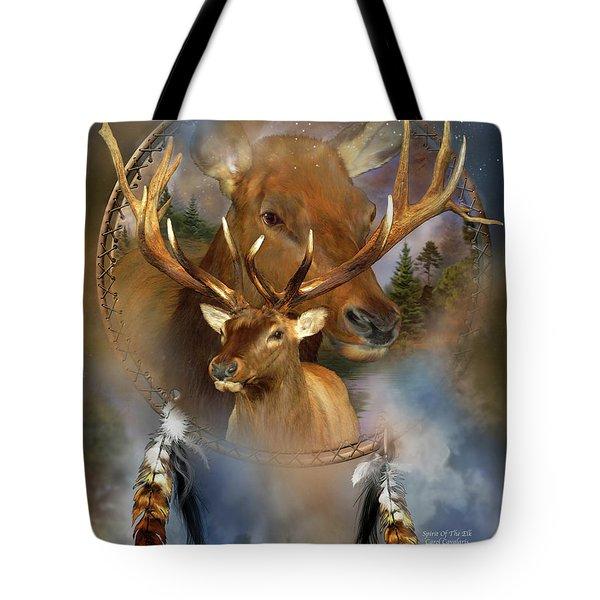 Dream Catcher - Spirit Of The Elk Tote Bag by Carol Cavalaris