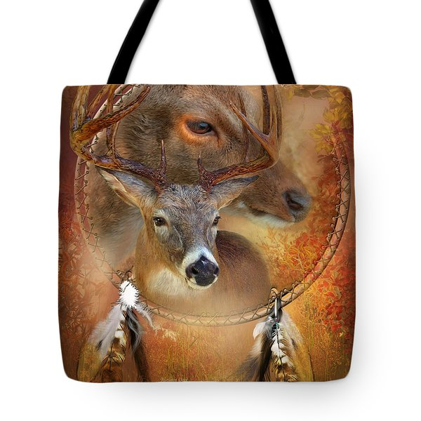 Tote Bag featuring the mixed media Dream Catcher - Autumn Deer by Carol Cavalaris