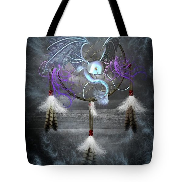 Dream Catcher Dragon Fish Tote Bag