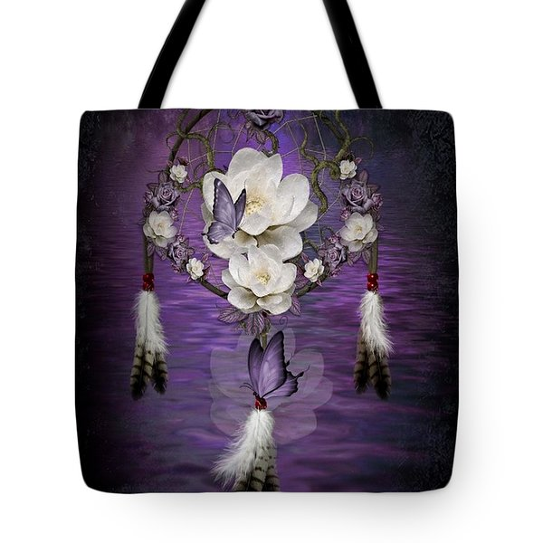 Dream Catcher Purple Flowers Tote Bag