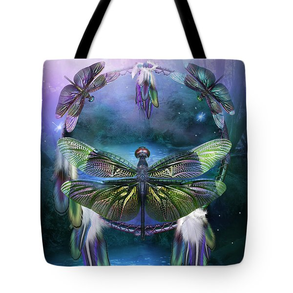Dream Catcher - Spirit Of The Dragonfly Tote Bag