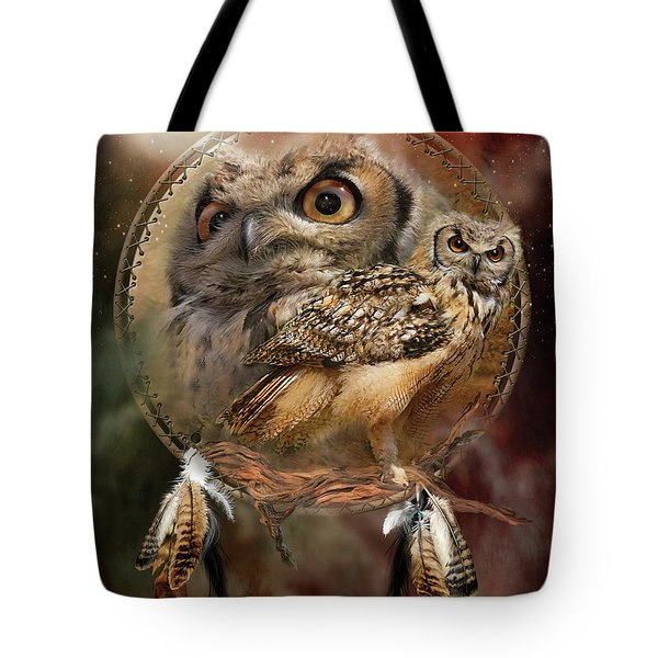 Tote Bag featuring the mixed media Dream Catcher - Spirit Of The Owl by Carol Cavalaris