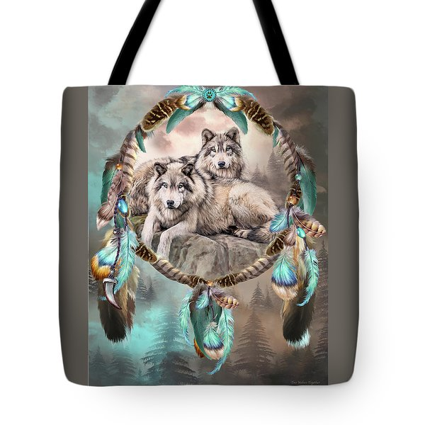 Tote Bag featuring the mixed media Dream Catcher - Two Wolves Together by Carol Cavalaris