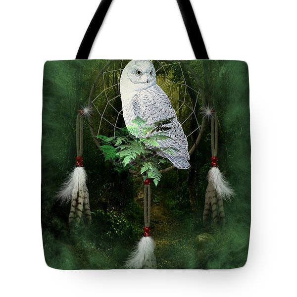 Dream Catcher White Owl Tote Bag