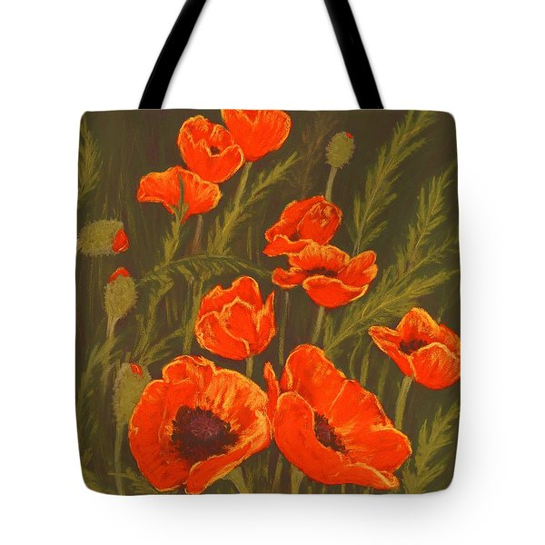 Tote Bag featuring the painting Dream Of Poppies by Anastasiya Malakhova