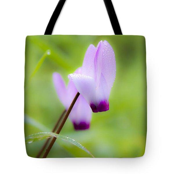 Dream On Purple Dew Drops Tote Bag