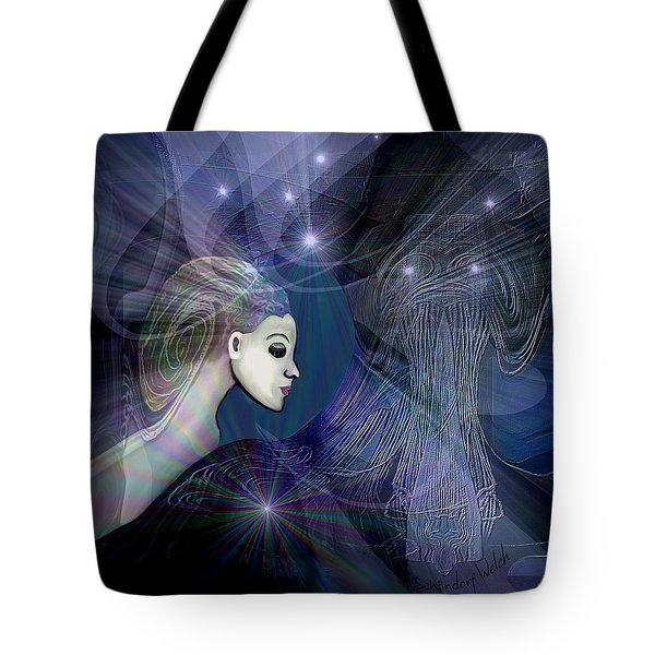 Tote Bag featuring the digital art 1101 - Dream Voyage - 2017 by Irmgard Schoendorf Welch