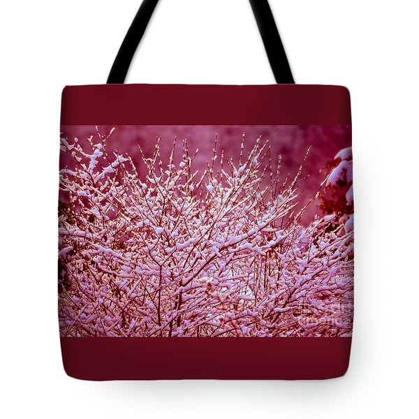 Tote Bag featuring the photograph Dreaming In Red - Winter Wonderland by Susanne Van Hulst