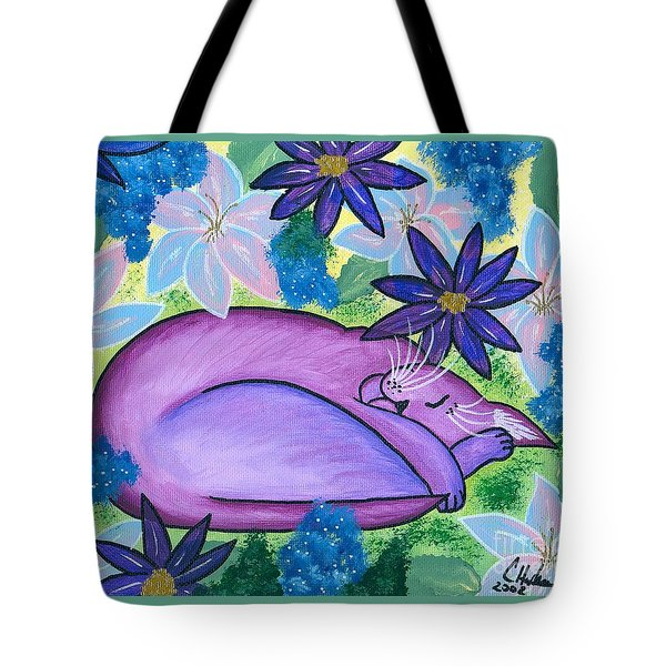 Dreaming Sleeping Purple Cat Tote Bag