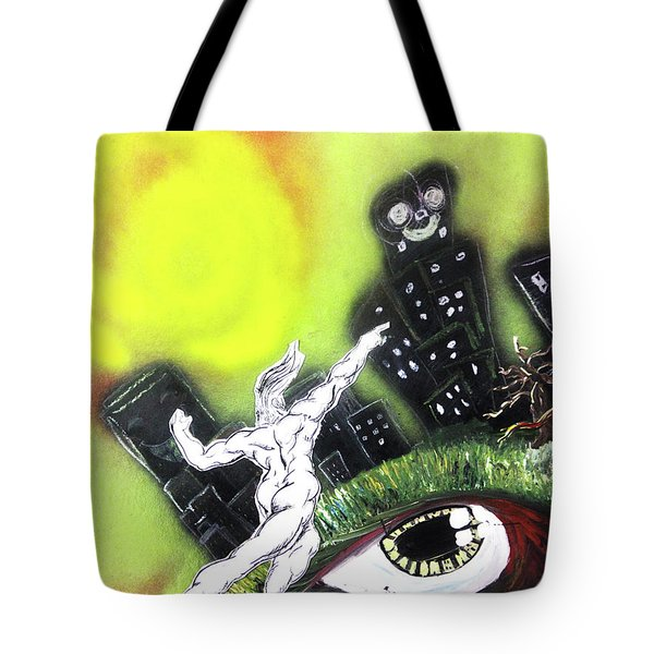 Tote Bag featuring the painting Dreaming Under The Sun by eVol i