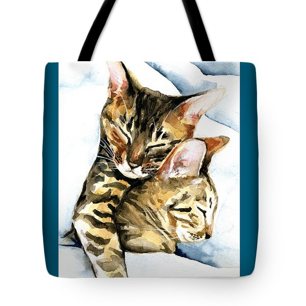 Dreamland - Bengal And Savannah Cat Painting Tote Bag